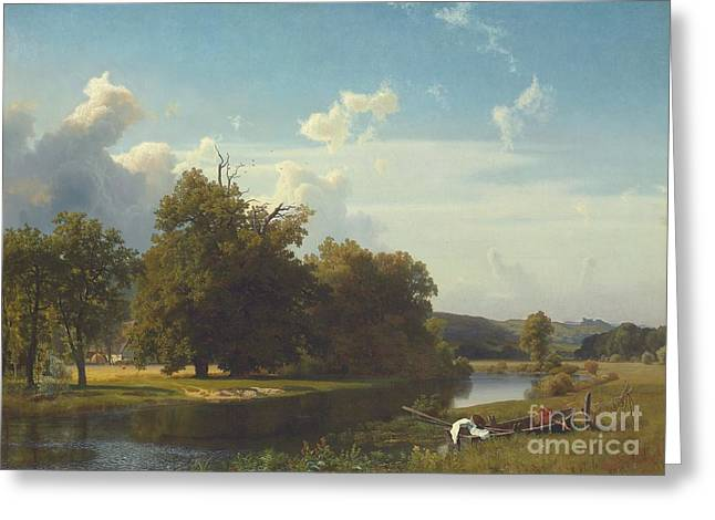 Romanticist Greeting Cards - A river landscape Westphalia Greeting Card by Albert Bierstadt