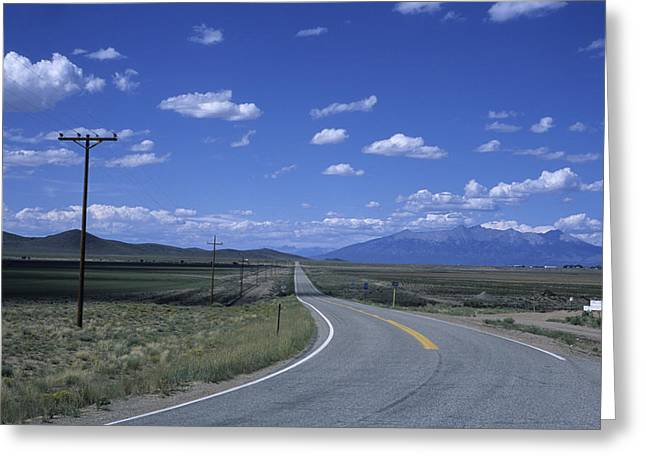 Road Trip Greeting Cards - A Road Disappears Into The Distance Greeting Card by Taylor S. Kennedy