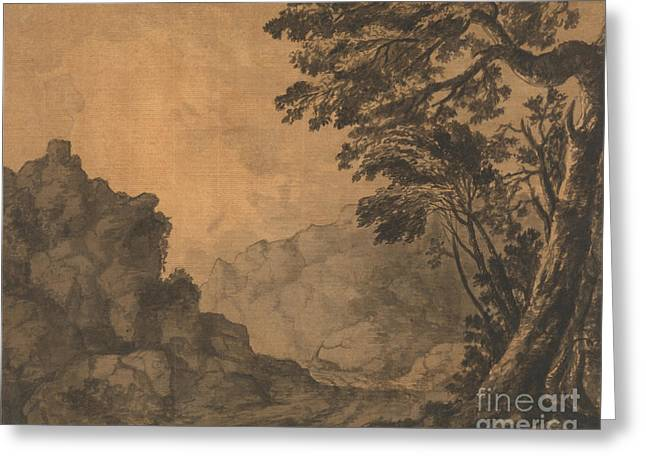 Landscape With A Road Greeting Cards - A Road in a Mountain Landscape with Trees to the Right Greeting Card by Celestial Images