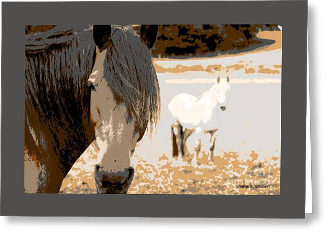 Impressionistic Equine Art Greeting Cards - A Road Less Traveled Greeting Card by Sharon K Shubert