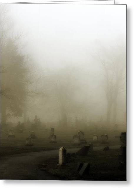 Graveyard Road Greeting Cards - A Road Through The Fog Soaked Graveyard Greeting Card by Gothicolors Donna Snyder