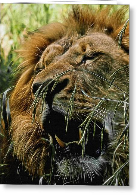 Wildcats Greeting Cards - A Roar in the Grass Digital Art Greeting Card by Ernie Echols