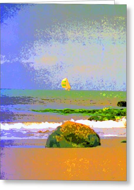 Sailboat Images Greeting Cards - A Rock and a Swiftsure Sailboat Image Greeting Card by Paul Price