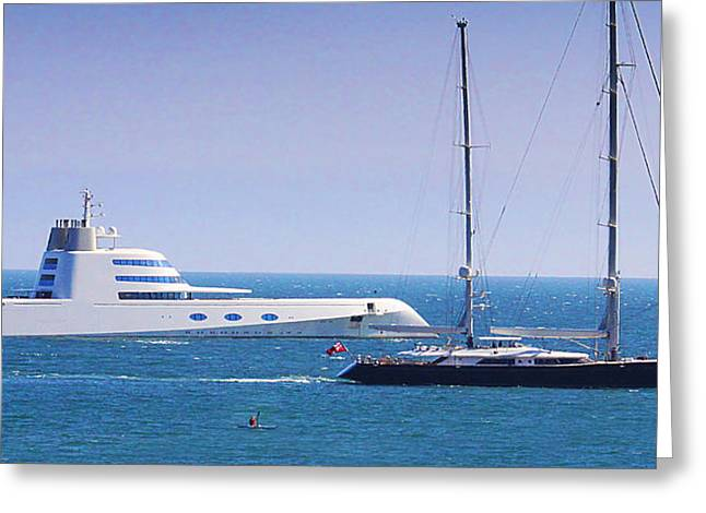 Andrey Greeting Cards - A Yacht Greeting Card by Roger Lyon
