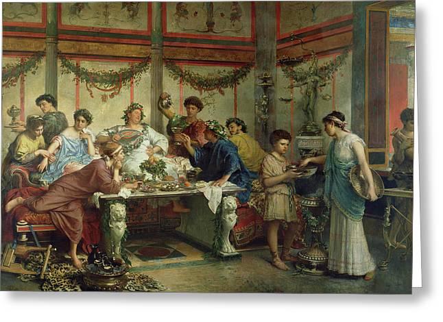 A Roman Feast Greeting Card by Roberto Bompiani