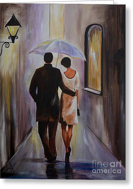Wife Greeting Cards - A Romantic Stroll Greeting Card by Leslie Allen