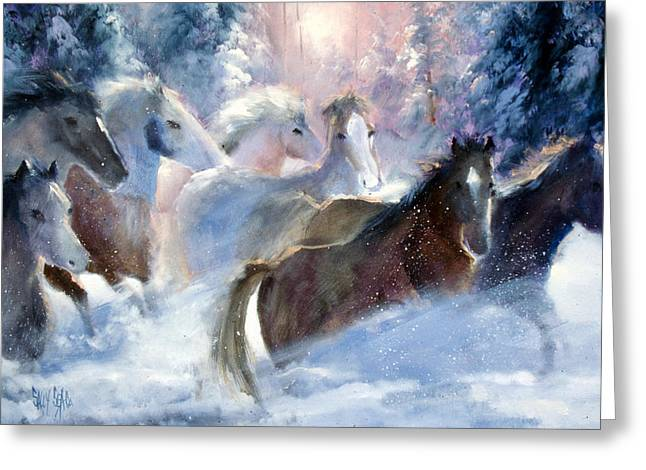 Wild Horses Greeting Cards - A Romp in the Snow Greeting Card by Sally Seago