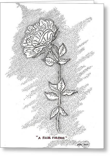 Inspirational. Pointillism Greeting Cards - A Rose For Blue Greeting Card by Glenn McCarthy Art and Photography