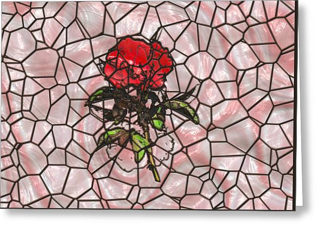 Abstract Digital Photographs Greeting Cards - A Rose on Stained Glass Greeting Card by John Bailey