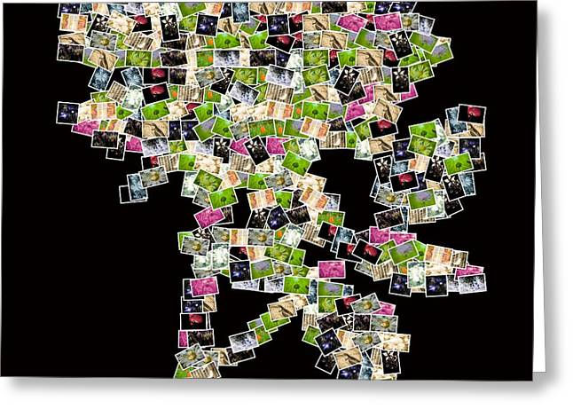Rose Petals Greeting Cards - A rose with small images of flowers in Greeting Card by Toppart Sweden