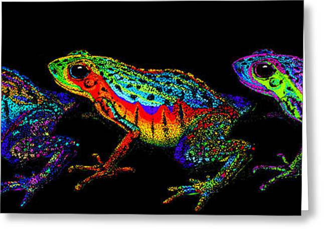 Amphibians Digital Art Greeting Cards - A Row of Rainbow Frogs Greeting Card by Nick Gustafson