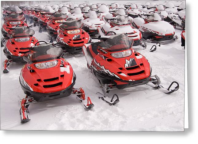 Snowmobile Greeting Cards - A Row Of Snowmobiles Sit Waiting Greeting Card by Taylor S. Kennedy