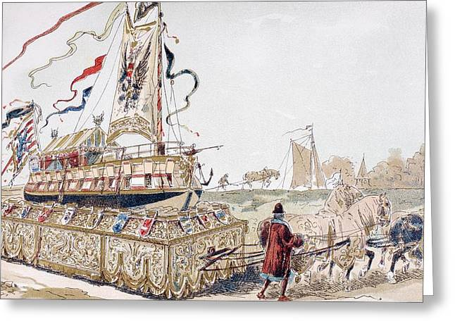 Wagon Wheels Drawings Greeting Cards - A Royal Barge Being Pulled On A Wagon Greeting Card by Ken Welsh