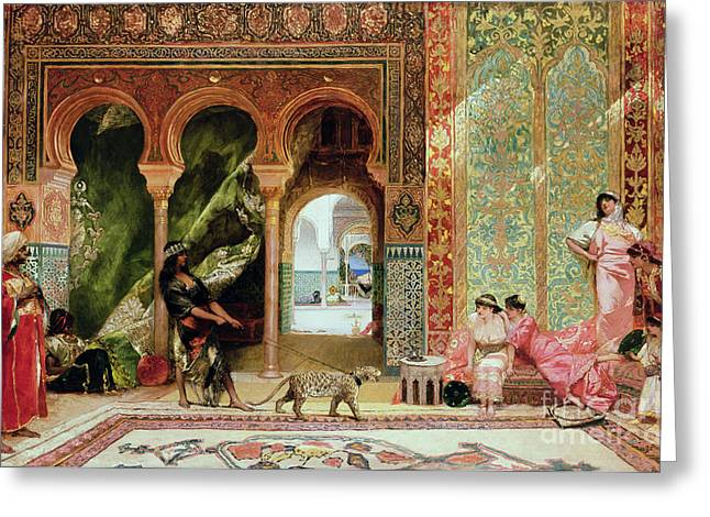 Mosaic Paintings Greeting Cards - A Royal Palace in Morocco Greeting Card by Benjamin Jean Joseph Constant