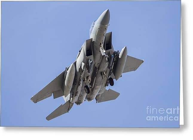 A Royal Saudi Air Force F-15s Strike Greeting Card by Rob Edgcumbe