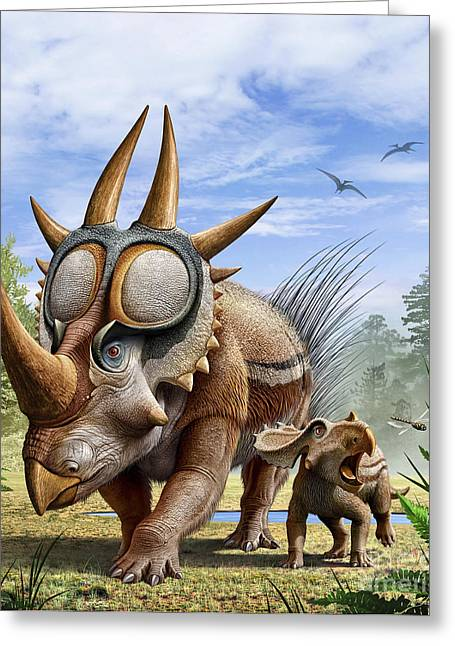 Caring Mother Greeting Cards - A Rubeosaurus And His Offspring Greeting Card by Mohamad Haghani