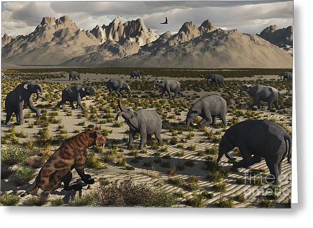 Period Digital Art Greeting Cards - A Sabre-toothed Tiger Stalks A Herd Greeting Card by Mark Stevenson