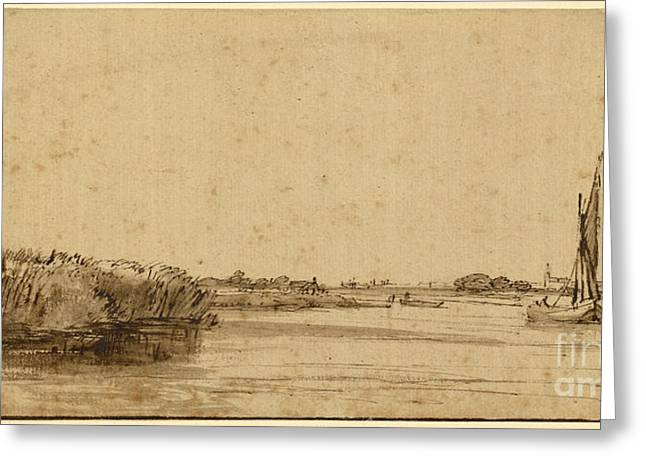 Boats On Water Greeting Cards - A Sailing Boat on a Wide Expanse of Water Greeting Card by Rembrandt Harmensz van Rijn