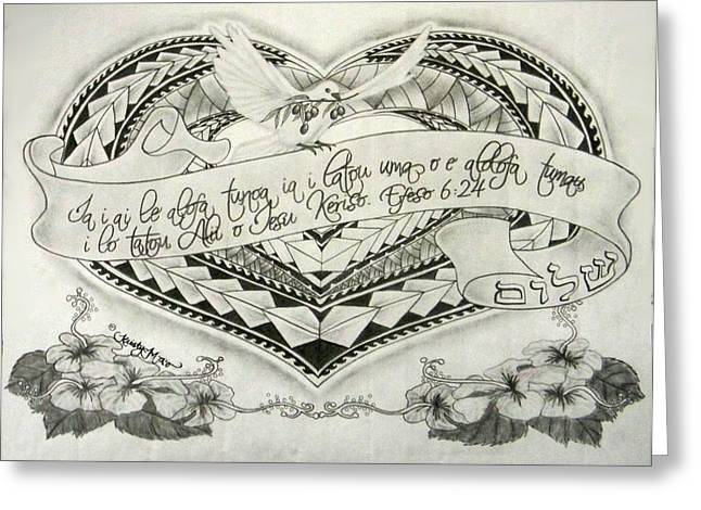 Scripture Drawings Greeting Cards - A Samoan Blessing Greeting Card by Kristy Mao