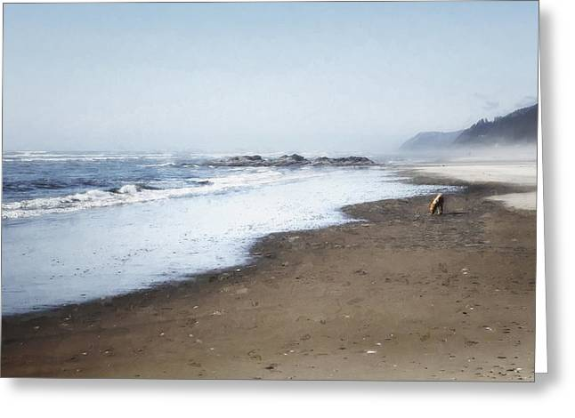 Sand Art Greeting Cards - A Sandy World at Her Feet Greeting Card by Belinda Greb