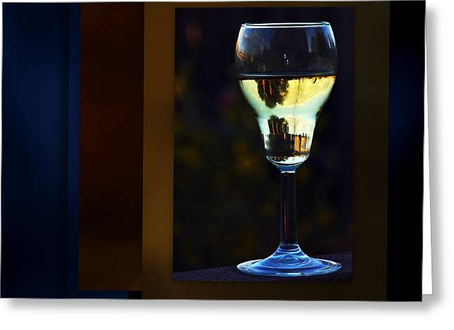 Wine Reflection Art Greeting Cards - A Sataurne Sunset Greeting Card by Irma BACKELANT GALLERIES