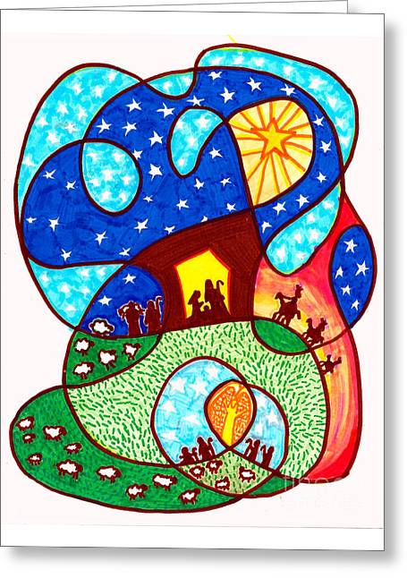 Star Of Bethlehem Drawings Greeting Cards - A Savior is Born Greeting Card by Suzanne Frie