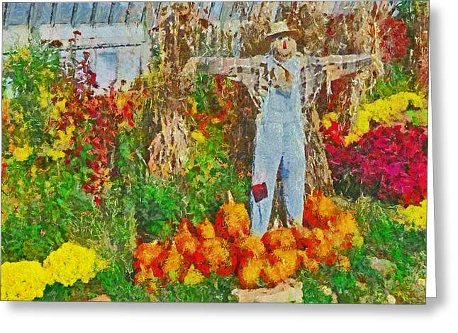 A Scarecrow Protecting The Autumn Harvest Greeting Card by Digital Photographic Arts
