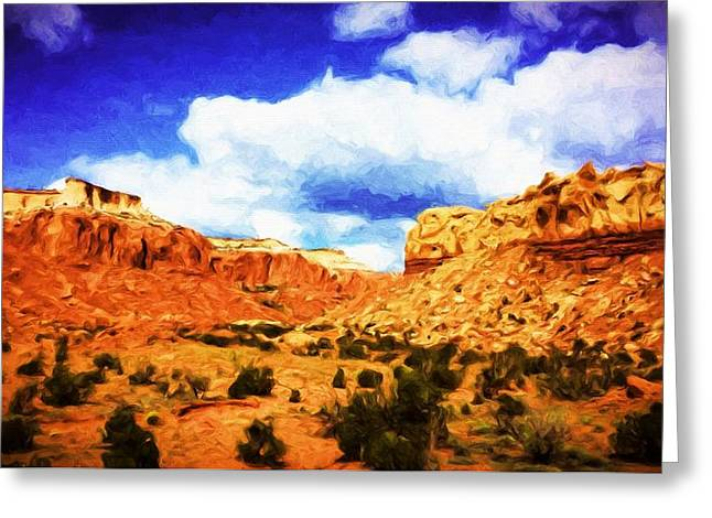 Pinion Paintings Greeting Cards - A Scene From Abiquiu Greeting Card by Jim Buchanan
