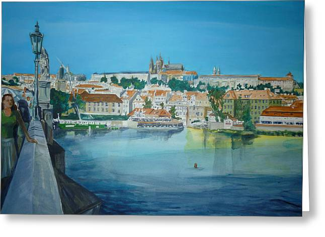 Prague Paintings Greeting Cards - A Scene in Prague 3 Greeting Card by Bryan Bustard