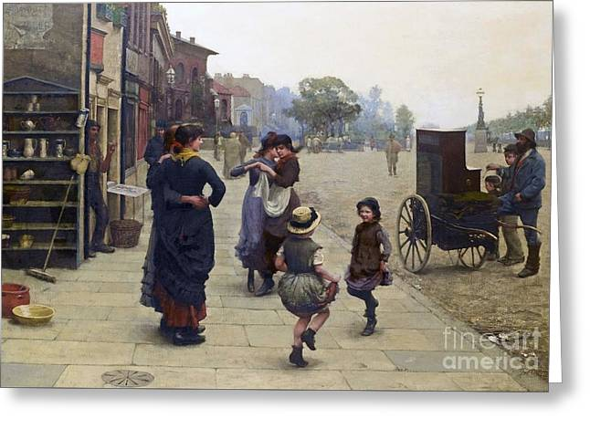 A Scene On The Chelsea Embankment Greeting Card by Frederick Brown