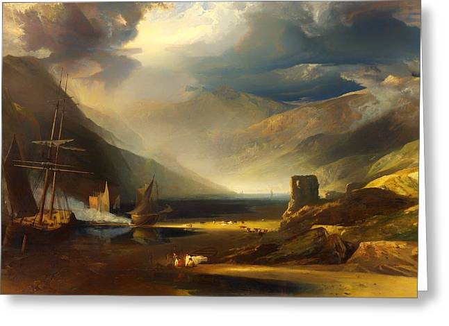 Mountainside Art Greeting Cards - A Scene On The Coast - Merionetshire Storm Passing Off  Greeting Card by Anthony Vandyke Copley Fielding