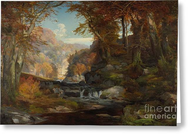 The Country School Greeting Cards - A Scene on the Tohickon Creek Greeting Card by Thomas Moran