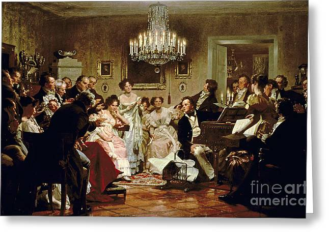 Classical Paintings Greeting Cards - A Schubert Evening in a Vienna Salon Greeting Card by Julius Schmid