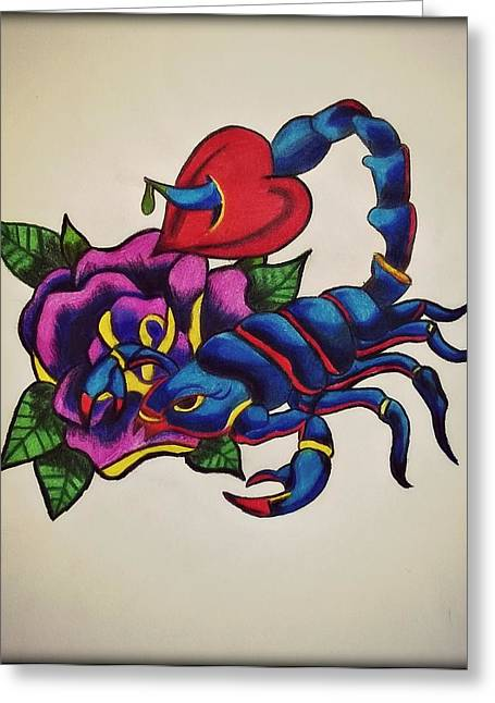 Tattoo Flash Drawings Greeting Cards - A Scorpion Through My Heart  Greeting Card by Missy  Brage