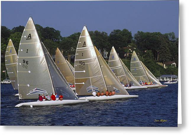 Sail Boat Greeting Cards - A Scow Start - Lake Geneva Wisconsin Greeting Card by Bruce Thompson
