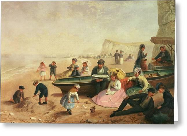 Sandcastle Greeting Cards - A Seaside Scene  Greeting Card by Jane Maria Bowkett