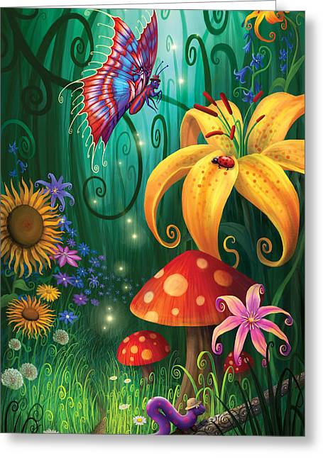 Magic Mushrooms Greeting Cards - A Secret Place Greeting Card by Philip Straub