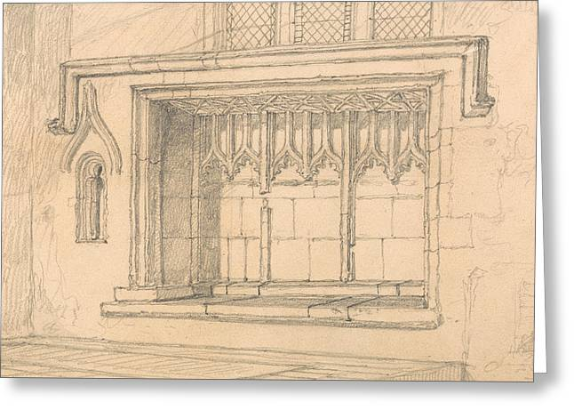 A Sedilia In Upwell Church, Norfolk Greeting Card by John Sell Cotman