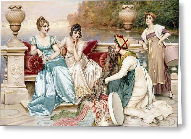 A Selection Of Silk And Satin Greeting Card by Joseph Frederic Charles Soulacroix