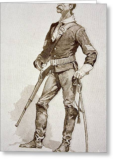 A Sergeant Of The Us Cavalry Greeting Card by Frederic Remington