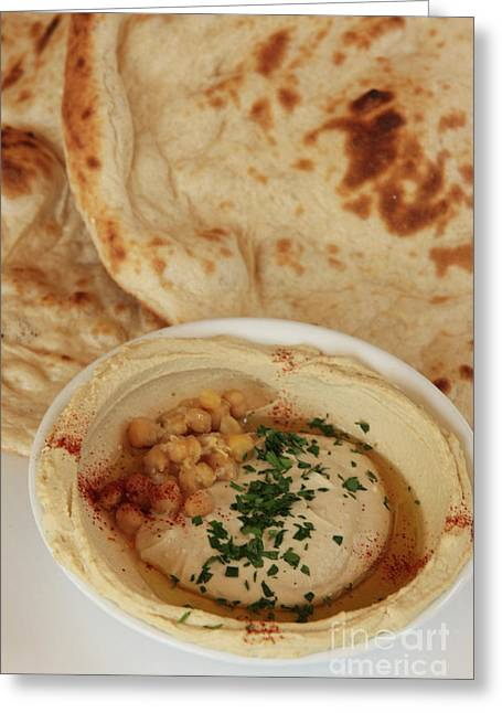 Nutriment Greeting Cards - A serving of Humus Greeting Card by PhotoStock-Israel