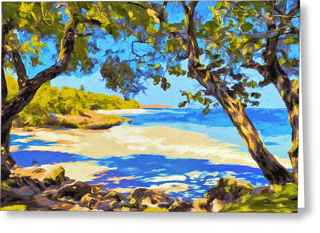 Lahaina Greeting Cards - A Shady Kona Cove Greeting Card by Dominic Piperata