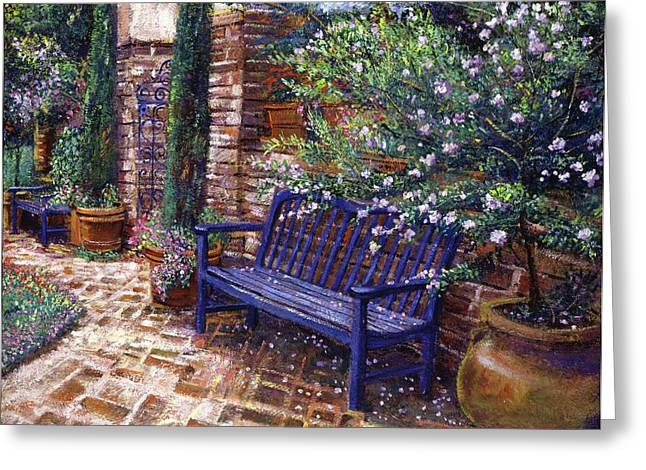 Flower Garden Greeting Cards - A Shady Resting Place Greeting Card by David Lloyd Glover