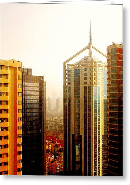 Old And New Architecture Greeting Cards - A Shanghai Sunset Greeting Card by Christine Till