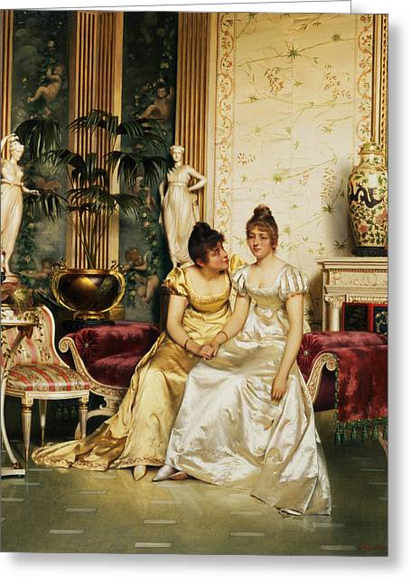 Sympathy Paintings Greeting Cards - A Shared Confidence Greeting Card by Joseph Frederick Charles Soulacroix