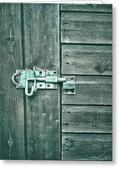 A Shed Door Greeting Card by Tom Gowanlock