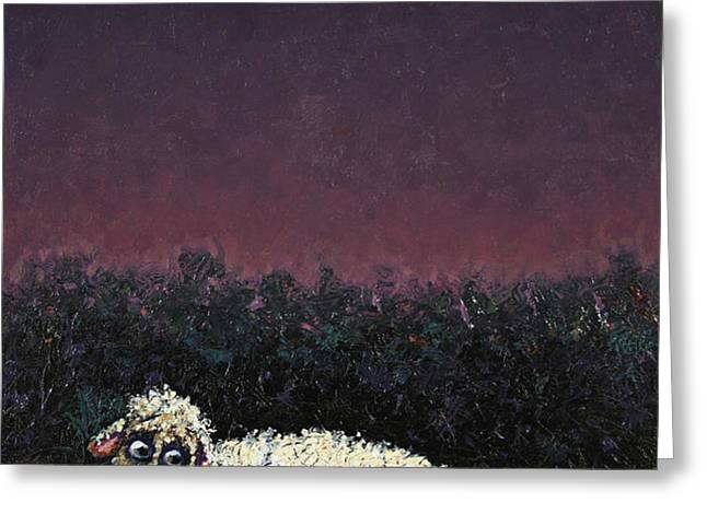 A sheep in the dark Greeting Card by James W Johnson