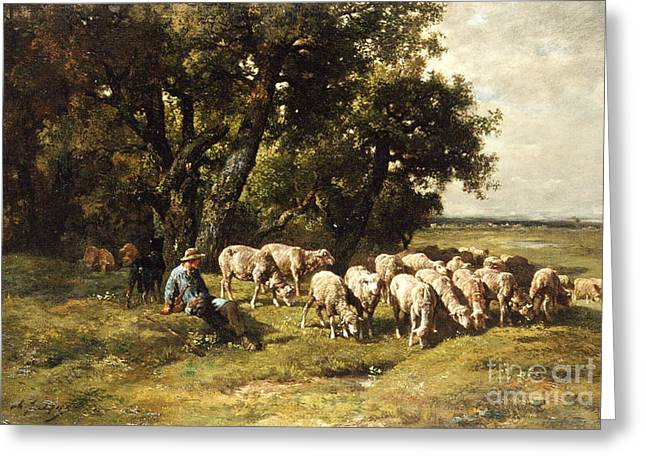 Sheep Greeting Cards - A shepherd and his flock Greeting Card by Charles Emile Jacques