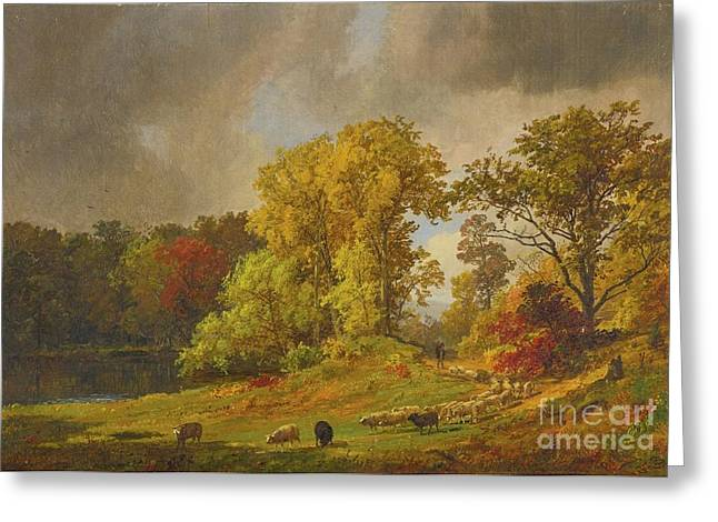 Cropsey Greeting Cards - A Shepherd And His Flock Greeting Card by Celestial Images