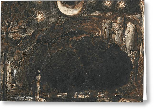 A Shepherd And His Flock Under The Moon And Stars Greeting Card by Samuel Palmer